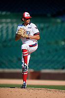 Pitcher Ben Hernandez (16) during the Under Armour All-America Game, powered by Baseball Factory, on July 22, 2019 at Wrigley Field in Chicago, Illinois.  Ben Hernandez attends De La Salle Institute in Chicago, Illinois and is committed to the University of Illinois at Chicago.  (Mike Janes/Four Seam Images)