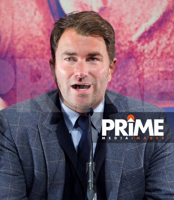 Promoter Eddie Hearn during the final press conference ahead of the George Groves v Andrea Di Luisa fight set for Saturday 30th January 2016 at the Copper Box, at Stratford Circus, Theatre Square, England on 28 January 2016. Photo by Alan  Stanford/PRiME Media Images.