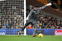 Jordan Archer of Millwall kicks the ball up field during Norwich City vs Millwall, Sky Bet EFL Championship Football at Carrow Road on 1st January 2018