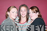 NIGHT OUT: Enjoying.the Vicars and Tarts.night in the Cashen.Bar, Ballybunion, on.Friday were from left,.Chloe Downey,.Rachel OConnor and.Sarah Leahy from.Listowel.