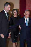 King Felipe VI, Queen Letizia and President of the Portuguese Republic, Mr. Marcelo Rebelo de Sousa
