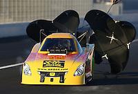 Nov 8, 2013; Pomona, CA, USA; NHRA funny car driver Bob Bode during qualifying for the Auto Club Finals at Auto Club Raceway at Pomona. Mandatory Credit: Mark J. Rebilas-