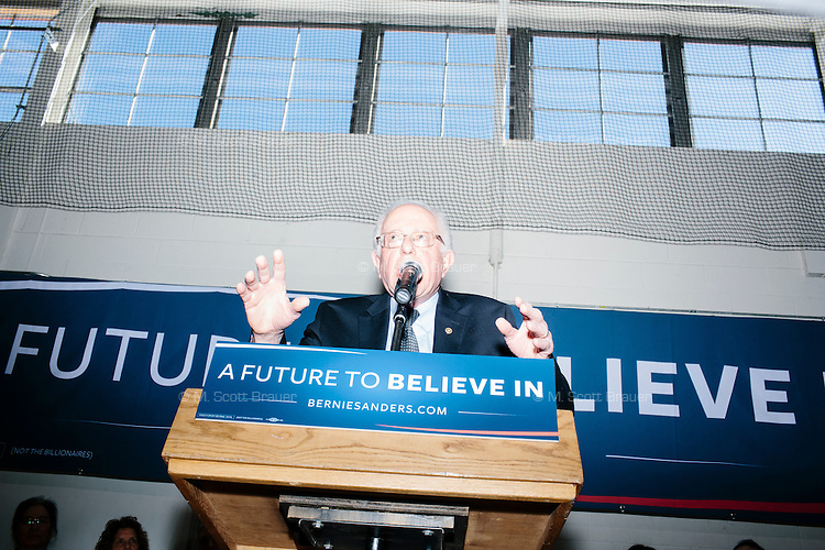 Vermont senator and Democratic presidential candidate Bernie Sanders speaks to senior citizens at the Peterborough Community Center gymnasium in Peterborough, New Hampshire.