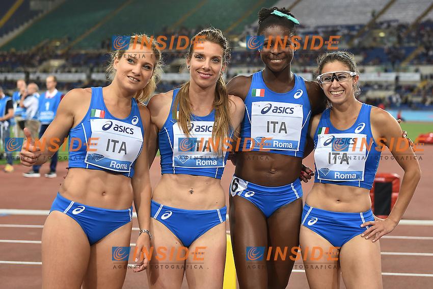 ALLOH SIRAGURA AMIDEI HOOPER ITA 4x100m Relay Women <br /> Roma 02-06-2016 Stadio Olimpico <br /> IAAF Diamond League Golden Gala <br /> Atletica Leggera<br /> Foto Andrea Staccioli / Insidefoto