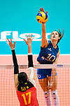 Anahi Florencia Tosi of Argentina attacks during the FIVB Volleyball Nations League Hong Kong match between China and Argentina on May 29, 2018 in Hong Kong, Hong Kong. Photo by Marcio Rodrigo Machado / Power Sport Images
