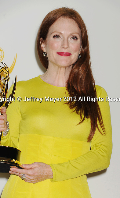 LOS ANGELES, CA - SEPTEMBER 23: Julianne Moore  poses in the press room at the 64th Primetime Emmy Awards held at Nokia Theatre L.A. Live on September 23, 2012 in Los Angeles, California.