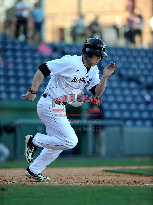 Center fielder Taylor Schmidt (3) of the Cincinnati Bearcats in a game against the Western Carolina Catamounts on Sunday, February 24, 2013, at Fluor Field in Greenville, South Carolina. Cincinnati won in 10 innings, 7-6. (Tom Priddy/Four Seam Images)