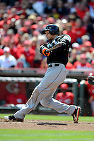 Miami Marlins outfielder Giancarlo Stanton #27 during a game against the Cincinnati Reds at Great American Ball Park on April 20, 2013 in Cincinnati, Ohio.  Cincinnati defeated Miami 3-2 in 13 innings.  (Mike Janes/Four Seam Images)