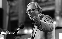 Peter Shore, MP, addressing annual UK Labour Party Conference September 1982, 198209000178B<br /><br />Copyright Image from Victor Patterson, 54 Dorchester Park, <br />Belfast, UK, BT9 6RJ<br /><br />t1: +44 28 9066 1296 (from Rep of Ireland 048 9066 1296)<br />t2: +44 28 9002 2446 (from Rep of Ireland 048 9002 2446)<br />m: +44 7802 353836<br /><br />victorpatterson@me.com<br />www.victorpatterson.com<br /><br />Please see my Terms and Conditions of Use at VICTORPATTERSON.COM. It is IMPORTANT that you familiarise yourself with them.<br /><br />Images used on the Internet must be visibly watermarked i.e. &copy;VICTORPATTERSON.COM within the body of the image and copyright metadata must not be deleted. Images used on the Internet have a size restriction of 4kbs and are chargeable at the then current NUJ rates.<br /><br />This image is only available for the use of the download recipient i.e. television station, newspaper, magazine, book publisher, etc, and must not be passed on to any third party. It is also downloaded on condition that each and every usage is notified within 7 days to victorpatterson@me.com<br /><br />The right of Victor Patterson to be identified as the author is asserted in accordance with The Copyright Designs And Patents Act (1988).