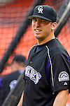 13 June 2006: Garrett Atkins, third baseman for the Colorado Rockies, waits for his turn at batting practice prior to a game against the Washington Nationals at RFK Stadium, in Washington, DC. The Rockies defeated the Nationals 9-2 in the second game of the four-game series...Mandatory Photo Credit: Ed Wolfstein Photo..