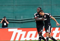 WASHINGTON, D.C - April 12 2014: Davy Arnaud  and Eddie Johnson  after Davy Arnaud  had scored the winning goal in D.C. United vs the New York Red Bulls MLS match at RFK Stadium, in Washington D.C. United won 1-0.