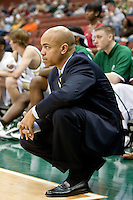 January 14, 2010:     Jacksonville head coach Cliff Warren watches the action during Atlantic Sun conference game action between the Jacksonville Dolphins and the Lipscomb Bisons at Veterans Memorial Arena in Jacksonville, Florida.  Jacksonville defeated Lipscomb 79-73.