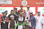 The jersey leaders on the podium at the end of Stage 6 and retains the Red Jersey of the 2019 UAE Tour, running 175km form Ajman to Jebel Jais, Dubai, United Arab Emirates. 1st March 2019.<br /> Picture: LaPresse/Fabio Ferrari | Cyclefile<br /> <br /> <br /> All photos usage must carry mandatory copyright credit (© Cyclefile | LaPresse/Fabio Ferrari)