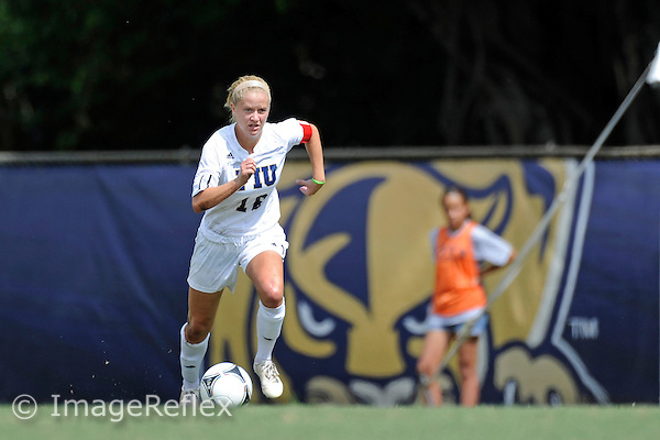 21 October 2012:  FIU Midfielder/Forward Nicole DiPerna (16) moves the ball upfield in the first half as the FIU Golden Panthers defeated the University of Arkansas at Little Rock Trojans, 7-0, at University Park Stadium in Miami, Florida.