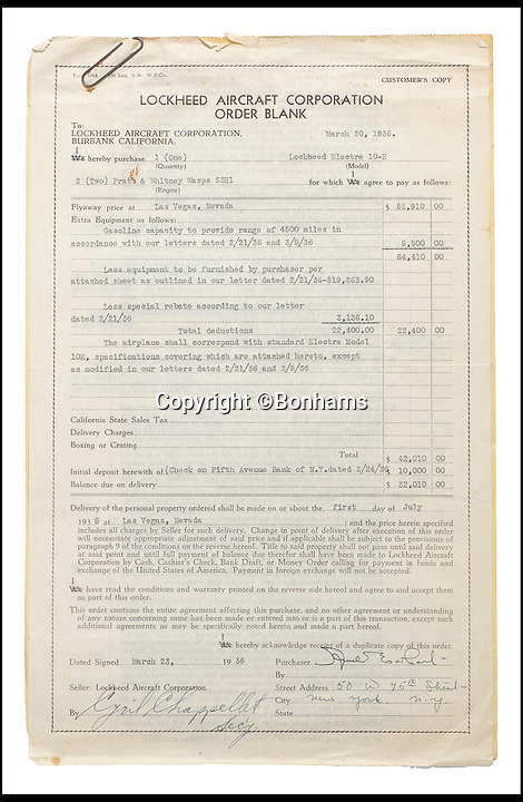 BNPS.co.uk (01202 558833)<br /> Pic: Bonhams/BNPS<br /> <br /> The signed contract for the aeroplane.<br /> <br /> The blueprints of the cutting edge aeroplane that tragic aviation pioneer Amelia Earhart disappeared in during an attempt to fly around the world almost 80 years ago have emerged for sale for &pound;14,000.<br /> <br /> Earhart's Lockheed Electra 10e aircraft was packed so full of new technology that it was dubbed the 'flying laboratory' on its launch in 1936.<br /> <br /> Plans and invoices for the work Lockheed carried out to modify the plane for the round the world flight show Earhart had four auxiliary fuel tanks fitted in the passenger compartment and a navigator's station to the rear of that.<br /> <br /> The auction will take place at Bonhams in New York on June 8.