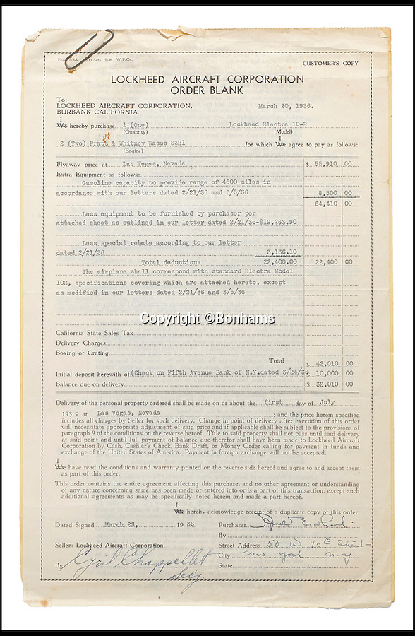 BNPS.co.uk (01202 558833)<br /> Pic: Bonhams/BNPS<br /> <br /> The signed contract for the aeroplane.<br /> <br /> The blueprints of the cutting edge aeroplane that tragic aviation pioneer Amelia Earhart disappeared in during an attempt to fly around the world almost 80 years ago have emerged for sale for £14,000.<br /> <br /> Earhart's Lockheed Electra 10e aircraft was packed so full of new technology that it was dubbed the 'flying laboratory' on its launch in 1936.<br /> <br /> Plans and invoices for the work Lockheed carried out to modify the plane for the round the world flight show Earhart had four auxiliary fuel tanks fitted in the passenger compartment and a navigator's station to the rear of that.<br /> <br /> The auction will take place at Bonhams in New York on June 8.