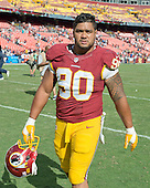 Washington Redskins defensive end Stephen Paea (90) leaves the field following his team's 24 - 10 victory over the St. Louis Rams at FedEx Field in Landover, Maryland, Sunday, September 20, 2015.  <br /> Credit: Ron Sachs / CNP