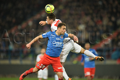 04.03.2016. Caen, France. French League 1 football. Caen versus Monaco.  GUIDO CARRILLO (mon) challenges DAMIEN DA SILVA (caen)for a header