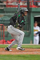 Dayton Dragons right fielder Michael Beltre (36) swings at a pitch against the Burlington Bees at Community Field on May 3, 2018 in Burlington, Iowa.  (Dennis Hubbard/Four Seam Images)