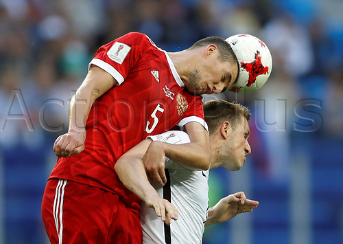 17th June 2017, St Petersburg, Russia;  FIFA 2017 Confederations Cup football, Russia versus New Zealand;  Group A - Saint Petersburg Stadium,   Russia's Viktor Vasin in heading action