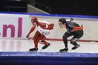 SCHAATSEN: HEERENVEEN: IJsstadion Thialf, 04-02-15, Training World Cup, Denny Morrison (CAN), Tyler Derraugh (CAN), ©foto Martin de Jong