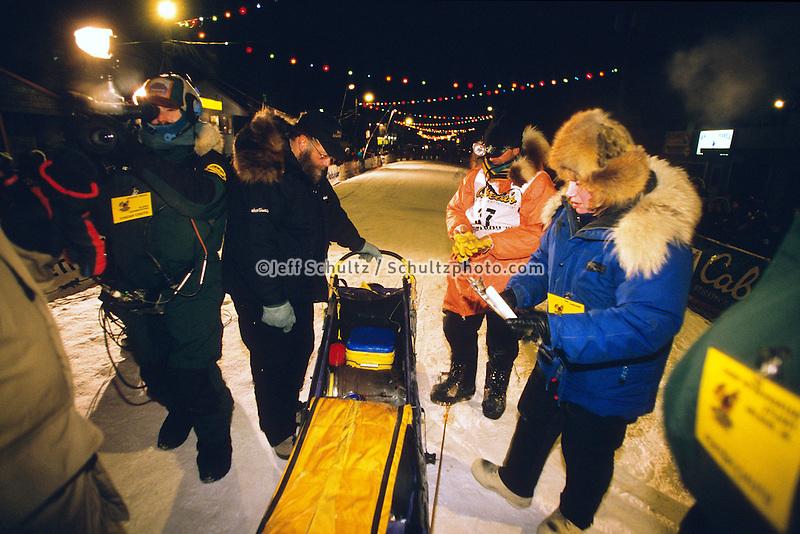 2001 Iditarod Sled Dog Race Champion Doug Swingley Checks in at Nome, Alaska