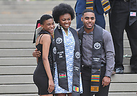 (Photo by John Valenzuela, Freelance)<br /> <br /> Black Graduation Celebration in the Academic Quad, May 19, 2018.<br /> <br /> Cultural Graduation Celebrations are an opportunity for smaller groups to come together and acknowledge students' accomplishments with family and friends while celebrating the rich diversity of our campus. The Office of Intercultural Affairs partners with cultural organizations to coordinate the events.<br /> <br /> (Photo by John Valenzuela, Freelance)