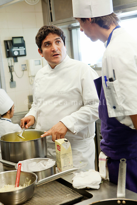 Chef Mauro Colagreco instructs his staff in the kitchen of restaurant Mirazur, Menton, France, 18 September 2013