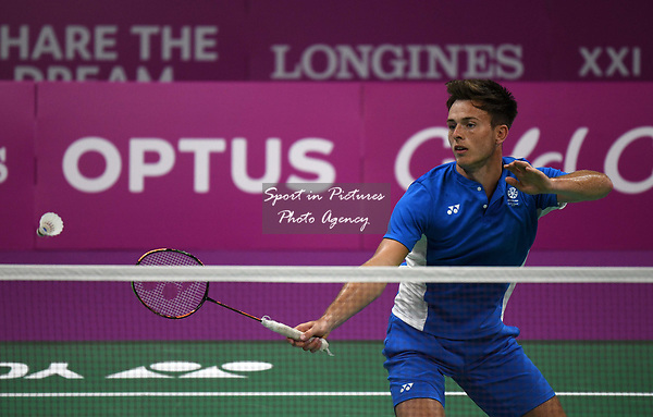 Alexander DUNN (SCO) in the mixed doubles. Badminton. Mixed team event. XXI Commonwealth games. Carrara Sports hall 2. Gold Coast 2018. Queensland. Australia. 05/04/2018. ~ MANDATORY CREDIT Garry Bowden/SIPPA - NO UNAUTHORISED USE - +44 7837 394578
