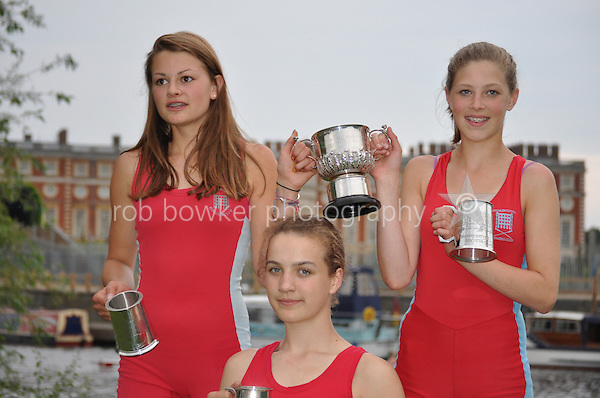 Thames Ditton Regatta. Hannah and Alice winners WJ15 2X. Leanne winner J15 1X