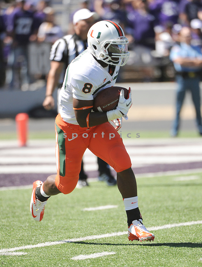 Miami Hurricanes Duke Johnson (8) in action during a game against the Kansas State Wildcats on September 8, 2012 at Bill Snyder Family Stadium in Manhattan, KS. Kansas State beat Miami 52-13.