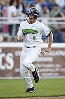 June 23, 2009:  Chad Cregar of the Jamestown Jammers scores a run during a game at Russell Diethrick Park in Jamestown, NY.  The Jammers are the NY-Penn League Short-Season Class-A affiliate of the Florida Marlins.  Photo by:  Mike Janes/Four Seam Images