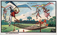 BNPS.co.uk (01202 558833)<br /> Pic:  Hansons/BNPS<br /> <br /> Anyone for flying tennis?....<br /> <br /> A remarkable set of drawings which were produced in 1899 to predict the future have come to light - and some of the ideas are plain wacky.<br /> <br /> Their outlandish vision of the world in 2000 includes flying cars, whales pulling coaches and games of croquet under the sea.<br /> <br /> The illustrations were produced by a group of French artists for a Paris exhibition entitled 'En L'An 2000'. (In the year 2000)<br /> <br /> They did not foresee a man on the moon or the first computer, but predicted people would be playing tennis with bat wings.