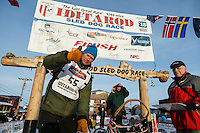 Mats Pettersson at the finish line in Nome on Thursday March 19, 2015 during Iditarod 2015.  <br /> <br /> (C) Jeff Schultz/SchultzPhoto.com - ALL RIGHTS RESERVED<br />  DUPLICATION  PROHIBITED  WITHOUT  PERMISSION