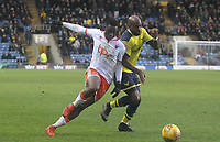 Blackpool's Viv Solomon-Otabor battles with Oxford United's Dwight Tiendalli<br /> <br /> Photographer Mick Walker/CameraSport<br /> <br /> The EFL Sky Bet League One - Rochdale v Blackpool - Monday 1st January 2018 - Spotland Stadium - Rochdale<br /> <br /> World Copyright &copy; 2018 CameraSport. All rights reserved. 43 Linden Ave. Countesthorpe. Leicester. England. LE8 5PG - Tel: +44 (0) 116 277 4147 - admin@camerasport.com - www.camerasport.com