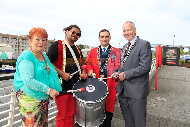 Phil conyngham, Kevin Callan and Oliver Tully with one of the artists at the samba launch in the dHotel<br /> Picture:  Fran Caffrey www.newsfile.ie