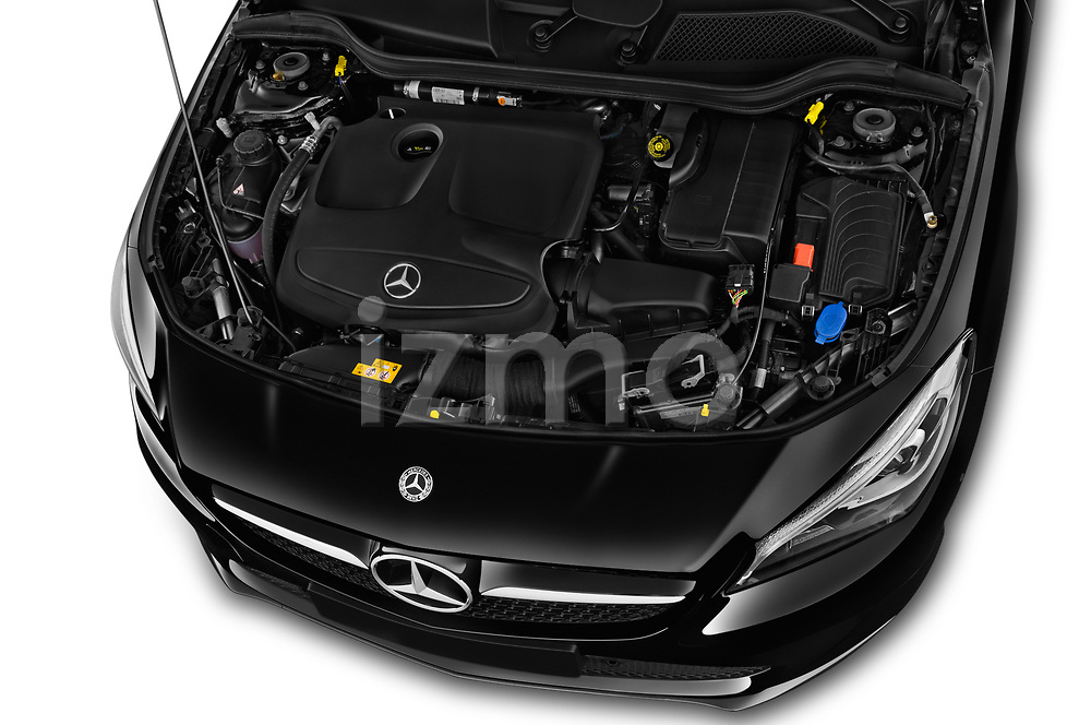 Car stock 2018 Mercedes Benz CLA Coupe Business Solution 4 Door Sedan engine high angle detail view