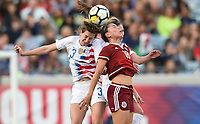 Jacksonville, FL - Thursday April 5, 2018: Andi Sullivan, Kiana Palacios during an International friendly match versus the women's National teams of the United States (USA) and Mexico (MEX) at EverBank Field.