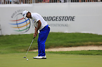 Hideki Matsuyama (JPN) takes his birdie putt on the 18th green during Sunday's Final Round of the WGC Bridgestone Invitational 2017 held at Firestone Country Club, Akron, USA. 6th August 2017.<br /> Picture: Eoin Clarke | Golffile<br /> <br /> <br /> All photos usage must carry mandatory copyright credit (&copy; Golffile | Eoin Clarke)