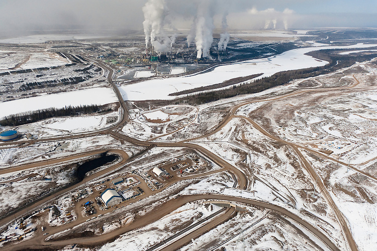 Tar Sands, March 2010. Suncor Athabasca River and tailings ponds. Alberta Athabasca Tar Sands or Oil Sands.