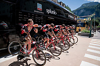 Team Trek-Segafredo warming up before the short, but challenging stage ahead<br /> <br /> Stage 8: Cluses (FRA) to Champéry (SUI)(113km)<br /> 71st Critérium du Dauphiné 2019 (2.UWT)<br /> <br /> ©kramon