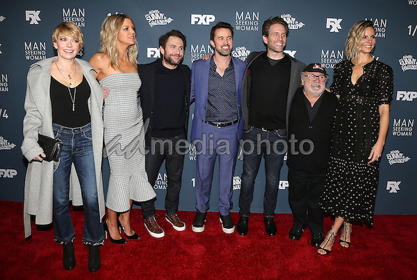 "03 January 2017 - Los Angeles, California - Mary Elizabeth Ellis, Kaitlin Olson, Charlie Day, Rob McElhenney, Glenn Howerton, Danny DeVito, Jill Latiano. Premiere Of FXX ""It's Always Sunny In Philadelphia"" Season 12 And ""Man Seeking Woman"" Season 3 held at Fox Bruin Theatre. Photo Credit: F. Sadou/AdMedia"