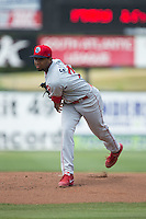 Lakewood BlueClaws starting pitcher Elniery Garcia (37) in action against the Kannapolis Intimidators at CMC-Northeast Stadium on May 17, 2015 in Kannapolis, North Carolina.  The Intimidators defeated the BlueClaws 4-1.  (Brian Westerholt/Four Seam Images)