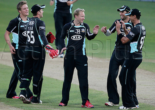 21.08.2012. The Oval, London, England. Gareth Batty gets the accolades after bowling Marcus north during the CB40 match Surrey versus Welsh Dragons at The Kia Oval Kennington London England.