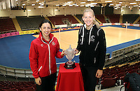 07.02.2017  Wales captain Suzy Drane and Silver Ferns captain Katrina Grant prior to the Wales v Silver Ferns netball test match at Swansea University at Ice Arena Wales. Mandatory Photo Credit ©Ian Cook/Michael Bradley Photography.
