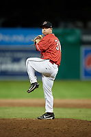 Batavia Muckdogs relief pitcher Zach Wolf (38) delivers a pitch during a game against the West Virginia Black Bears on July 3, 2018 at Dwyer Stadium in Batavia, New York.  Batavia defeated West Virginia 5-4.  (Mike Janes/Four Seam Images)
