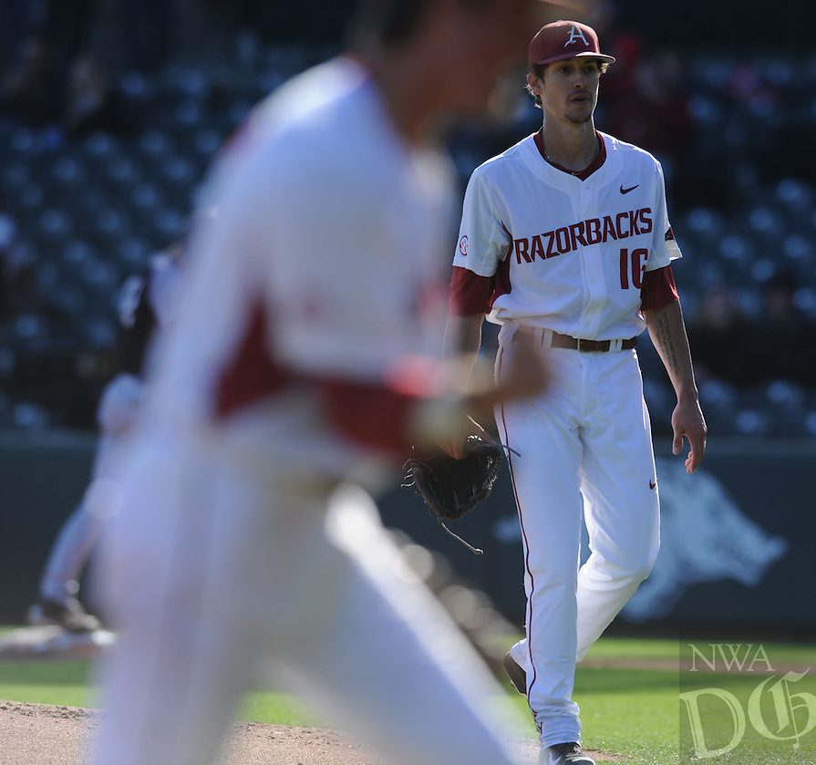 NWA Democrat-Gazette/ANDY SHUPE<br /> Arkansas Bryant Friday, Feb. 24, 2017, during the inning at Baum Stadium in Fayetteville. Visit nwadg.com/photos to see more photographs from the game.