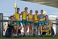 Sporting 2XU gear (L-R) Andrew Edmondson, Kyle Bridgwood, Brad Scott, Torita Isaac, Amanda Reynolds, Kate Doughty and Nic Beveridge <br /> 2016 APC RIO Uniform Launch with the city of Sydney as the backdrop shot from the Star Casino<br /> Australian Paralympic Committee<br /> Star Casino / Sydney / NSW<br /> Monday 6 June 2016<br /> © Sport the library / Jeff Crow