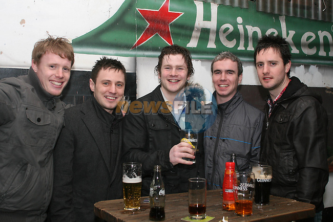 Conor Criggs, Joe King, Charlie Mackin, Mike Nearly and Joe O'Brien in McPhails...Photo NEWSFILE/Jenny Matthews.(Photo credit should read Jenny Matthews/NEWSFILE)....This Picture has been sent you under the condtions enclosed by:.Newsfile Ltd..The Studio,.Millmount Abbey,.Drogheda,.Co Meath..Ireland..Tel: +353(0)41-9871240.Fax: +353(0)41-9871260.GSM: +353(0)86-2500958.email: pictures@newsfile.ie.www.newsfile.ie.FTP: 193.120.102.198.