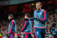 Gylfi Sigurdsson of Swansea City  warms up during the Barclays Premier League match between Arsenal and Swansea City at the Emirates Stadium, London, UK, Wednesday 02 March 2016
